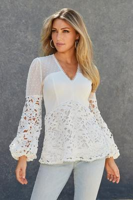 Swiss Dot Lace V-Neck Long-Sleeve Top