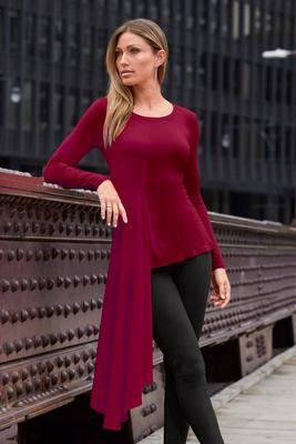 Chiffon Overlay Long-Sleeve Top