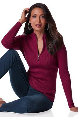 Beyond Basics Ribbed Half Zip-Up Sweater