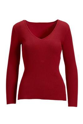 Beyond Basics Ribbed V-Neck Pullover Sweater
