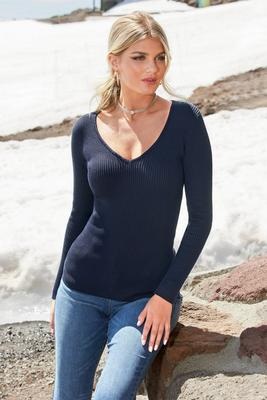 Display product reviews for Beyond Basics Ribbed V-Neck Pullover Sweater