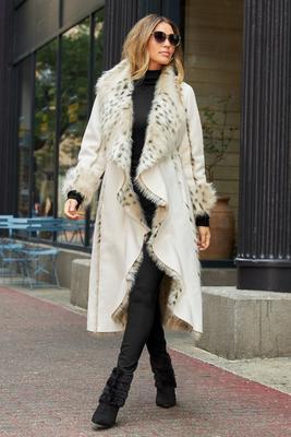 Animal Faux-Fur Long Coat