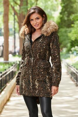 Animal Print Storm Coat With Faux-Fur Trim