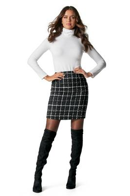 above-the-knee plaid skirt