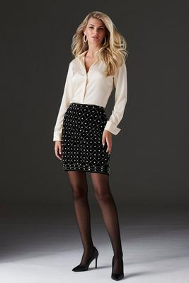 allover pearl embellished above-the-knee skirt