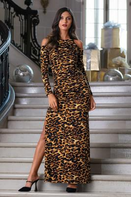 animal print cold-shoulder ruched slit gown