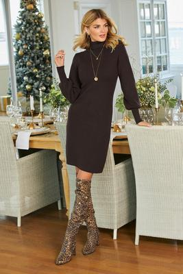 Balloon-Sleeve Sweater Dress