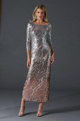 elegant off-the-shoulder ombre sequin gown