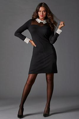 Embellished Collar Illusion Dress