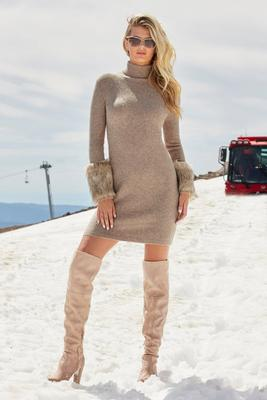 Faux-Fur Cuff Sweater Dress