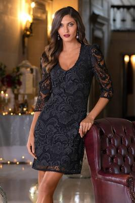 lace puff-sleeve dress