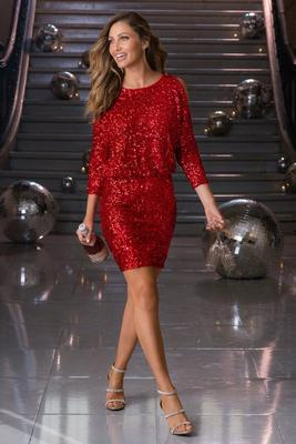 Sequin Cold-Shoulder Dress