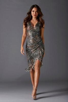 Sequin Side-Ruched Dress