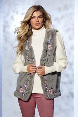 embroidered faux-fur vest
