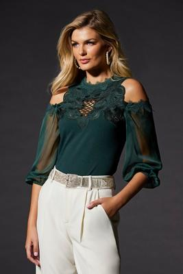 Lace-Trim Cold-Shoulder Top