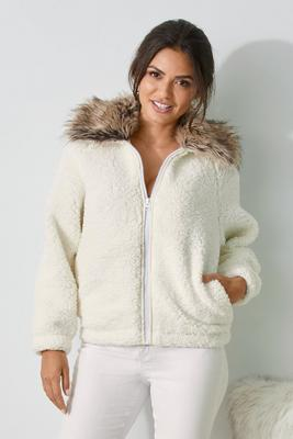Faux-Fur Collar Sherpa Zip-Up Jacket
