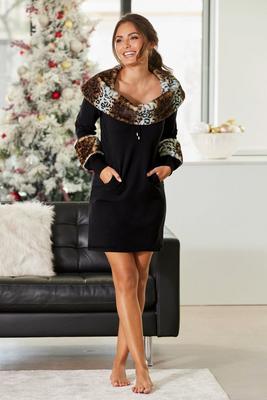 animal print faux-fur dress
