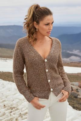 Shimmery Button Cardigan
