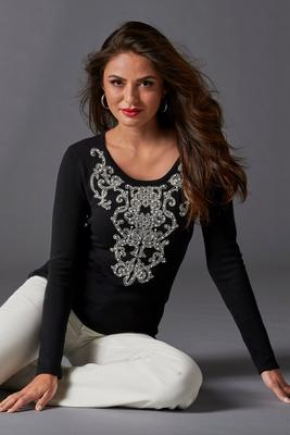 Display product reviews for Scroll Pearl Embellished Pullover Sweater