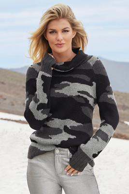 camo jacquard tunic sweater