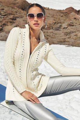 Turtleneck Zip-Up Cable Embellished Cardigan Sweater