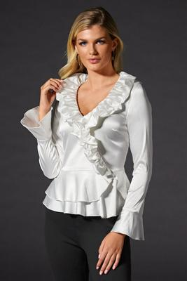 Solid Long-Sleeve Ruffle Blouse