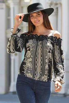 cold-shoulder lace applique print top