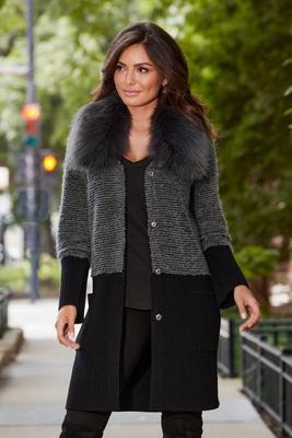 color block faux-fur collar sweater coat