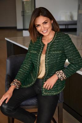 chain detail tweed jacket