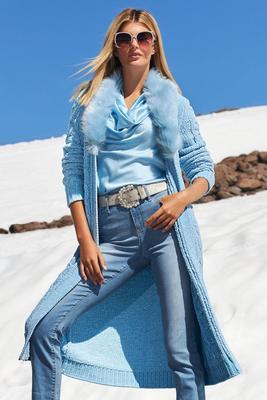 faux-fur chenille duster sweater