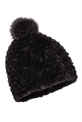 faux-fur knitted pom hat