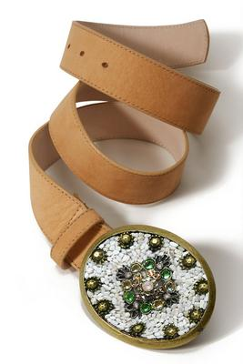 oval-embellished buckle belt