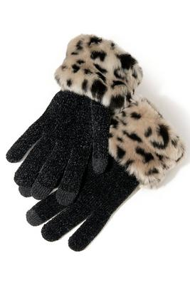 faux-fur trimmed tech glove