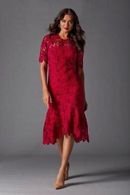 Display product reviews for Lace Midi Flounce Dress