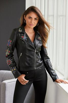 Multicolor Jewel Embellished Faux-Leather Moto