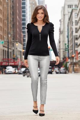 metallic coated five-pocket jean