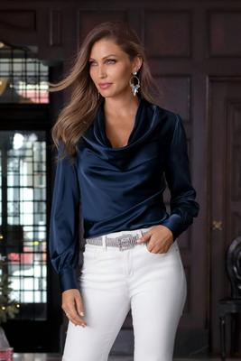 Long-Sleeve Cowl-Neck Blouse