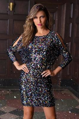 Multicolor Sequin Cold-Shoulder Dress
