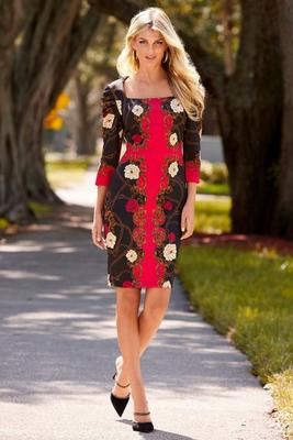 puff-sleeve scroll print dress