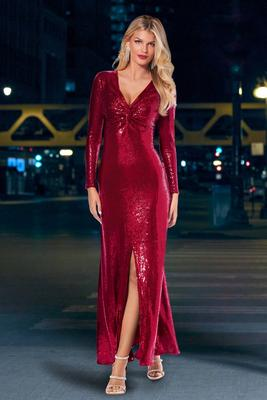 Long-Sleeve Sequin Coated Gown