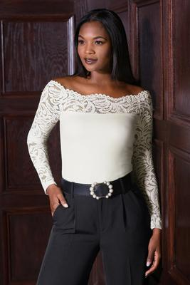 lace illusion shoulder-skimming top
