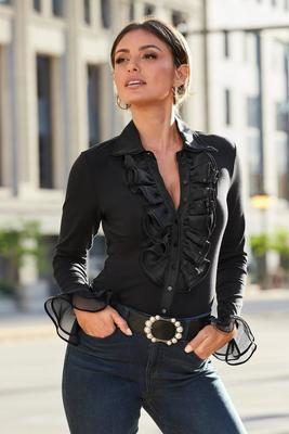 Ruffle Stretch Blouse