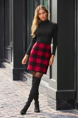 Buffalo Check Above-The-Knee Skirt