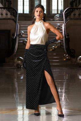 Embellished Velvet Slit Maxi Skirt