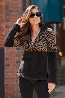 Display product reviews for Half-Zip Animal Print Jacket