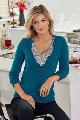 Embellished V-Neck Sweater
