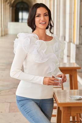 Organza Ruffle Sweater