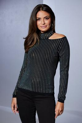 Studded Mock-Neck Cutout Sweater