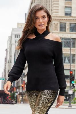 Crisscross Off-The-Shoulder Twist Detail Sweater