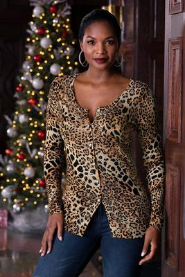 Sequin Trim Leopard Button-Up Cardigan Sweater